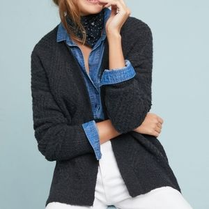 Moth by Anthro M Cable Knit Wool Alpaca Cardigan